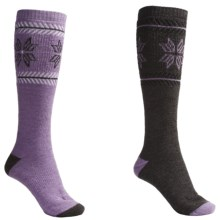 Lorpen Ski-Snowboard Socks - Italian Wool, 2-Pack (For Men and Women) in Orchid/Charcoal - 2nds