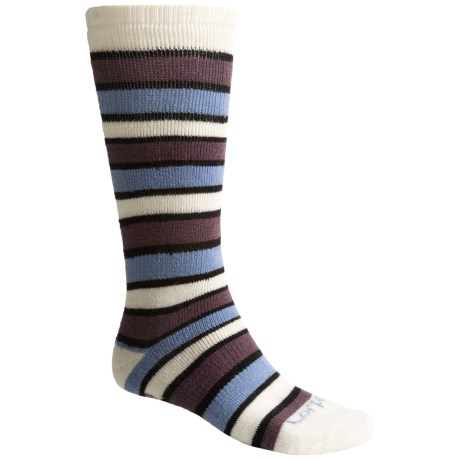 Lorpen Ski-Snowboard Socks - Italian Wool, 2-Pack (For Men and Women) in White/Orchid/Blue Stripes