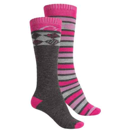 Lorpen Ski/Snowboard Socks - 2-Pack, Merino Wool, Over the Calf (For Women) in Berry/Charcoal - 2nds