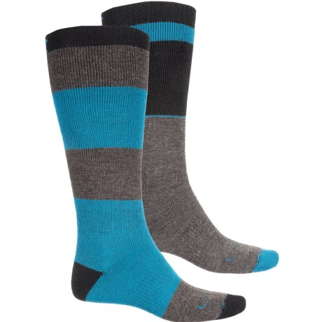 Lorpen Ski/Snowboard Socks - 2-Pack, Merino Wool, Over the Calf (For Women) in Black/Blues