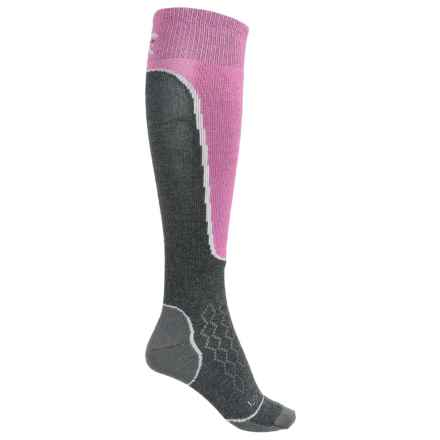 Lorpen T2 Light Ski Socks - Merino Wool, Mid Calf (For Women) in Charcoal/Pink - Closeouts