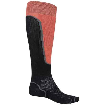 Lorpen T2 Light Ski Socks - Merino Wool, Over the Calf (For Men) in Black/Orange - Closeouts