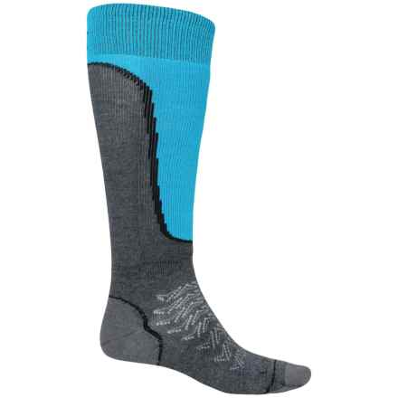 Lorpen T2 Light Ski Socks - Merino Wool, Over the Calf (For Men) in Charcoal/Blue - Closeouts