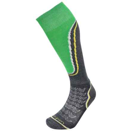 Lorpen T2 Midweight Ski Socks - Merino Wool, Over the Calf (For Men) in Charcoal/Green - Closeouts