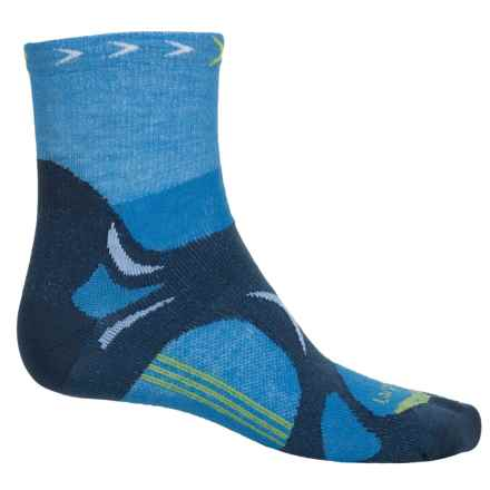 Lorpen T3 CoolMax® Ultralight Trail Running Socks - Quarter Crew (For Men) in Blue - 2nds