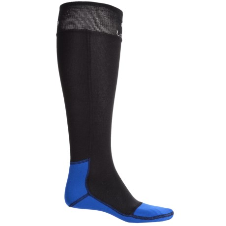 Lorpen T3+ Polartec® Superlight Race Ski Socks - Over the Calf (For Men and Women) in Black/Royal