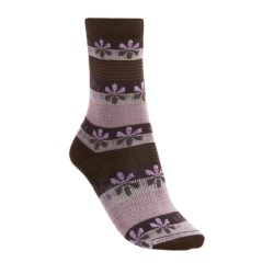 Lorpen Virginia Socks - Modal-Cotton, Crew (For Women) in Pink/Taupe