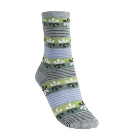 Lorpen Virginia Socks - Modal-Cotton, Crew (For Women) in Grey/Light Blue
