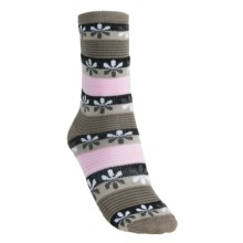 Lorpen Virginia Socks - Modal-Cotton, Crew (For Women) in Pink/Taupe - 2nds