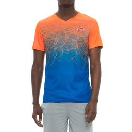 Lotto Active T-Shirt - V-Neck, Short Sleeve (For Men) in Fluo Fanta/Shiver - Closeouts