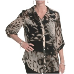 Louben Chiffon Print Blouse - Long Sleeve (For Women) in Praline