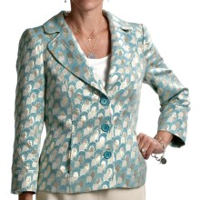 Louben Classic Jacquard Jacket (For Women) in Turquoise - Closeouts