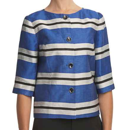 Louben Collarless Crop Jacket - 3/4 Sleeve (For Women) in Shore Blue - Closeouts