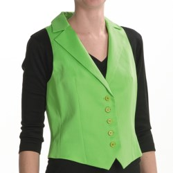 Louben Cotton-Linen Vest - Notched Lapel (For Women) in Parrot Green