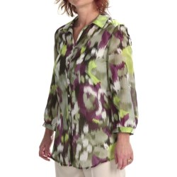 Louben Cotton-Silk Shirt - Long Roll-Up Sleeve (For Women) in Khaki/Moss