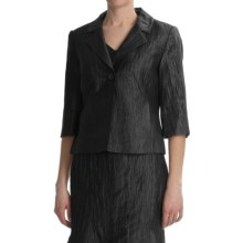 Louben Crinkle Linen Blazer - 3/4 Sleeve (For Women) in Black - Closeouts