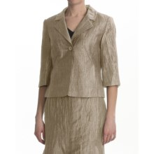 Louben Crinkle Linen Blazer - 3/4 Sleeve (For Women) in Hay - Closeouts