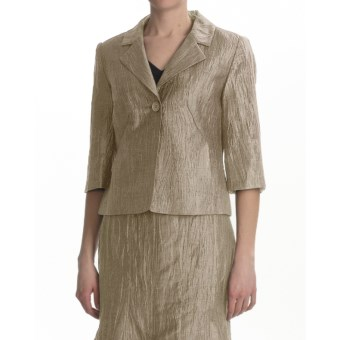Louben Crinkle Linen Blazer - 3/4 Sleeve (For Women) in Hay