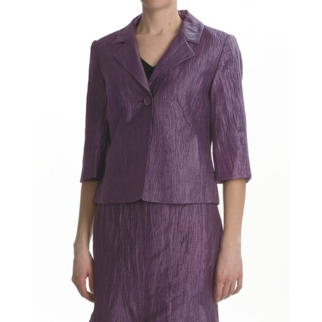 Louben Crinkle Linen Blazer - 3/4 Sleeve (For Women) in Raisin