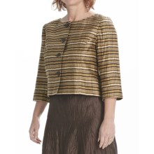 Louben Crinkle Linen Crop Jacket - 3/4 Sleeve (For Women) in Brown - Closeouts