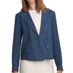 Louben Linen Crop Jacket (For Women) in Denim