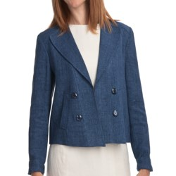 Louben Linen Crop Jacket (For Women) in Denim