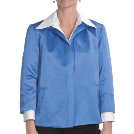 Louben Lustrous Jacket - Open Front, 3/4 Sleeve (For Women) in Cobalt