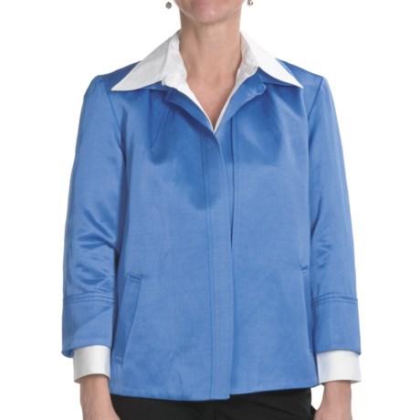 Louben Lustrous Jacket - Open Front, 3/4 Sleeve (For Women) in Cobalt