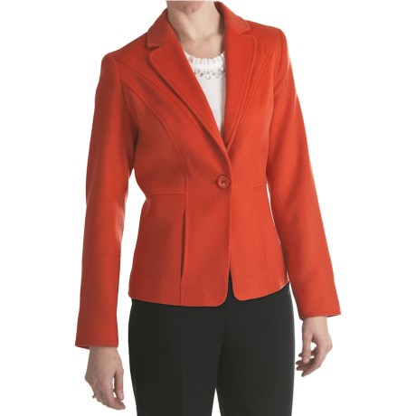 Louben Luxe Wool-Cashmere Blazer (For Women) in Tangelo