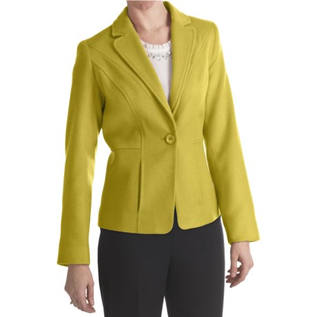 Louben Luxe Wool-Cashmere Blazer (For Women) in Wasabi