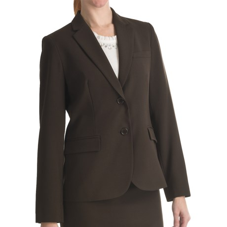 Louben Narrow-Lapel Blazer - Two Button (For Women) in Brown