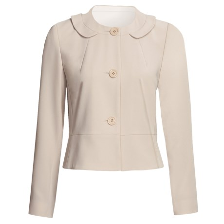 Louben Round Neck Jacket - 3-Button Front (For Women) in Champagne