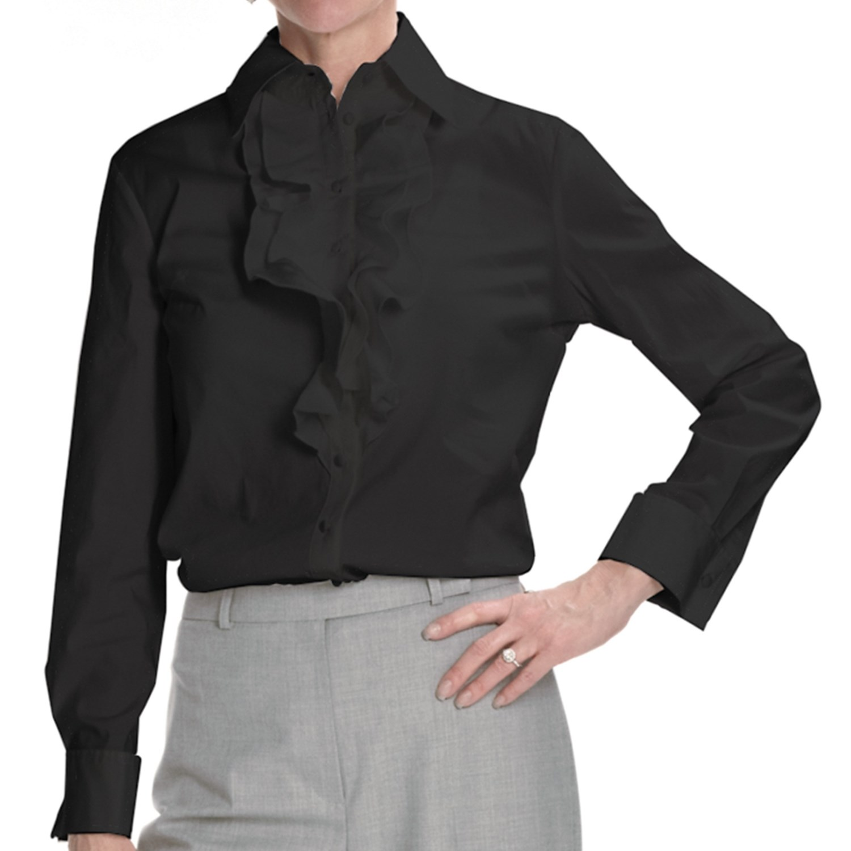 Louben ruffle dress shirt stretch cotton long sleeve for How to stretch a dress shirt
