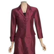 Louben Silk Notch Lapels Jacket - 5-Button Front (For Women) in Cranberry - Closeouts