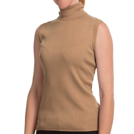 Louben Silk Turtleneck - Sleeveless (For Women) in Biscotti