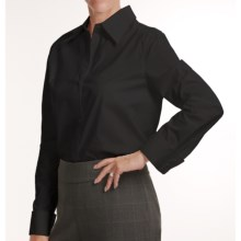 Louben Stretch Cotton Shirt - French Cuffs, Long Sleeve (For Women) in Black - Closeouts