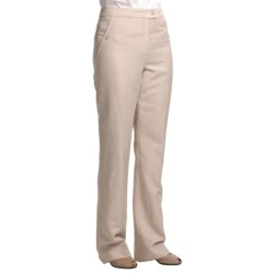 Louben Thin Pinstripe Pants - Tab Front (For Women) in Brown Stripe