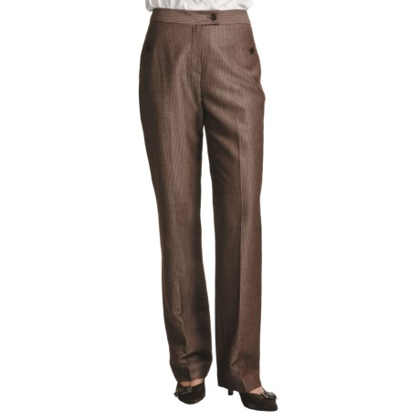 Louben Thin Pinstripe Pants - Tab Front (For Women) in Brown Stripe