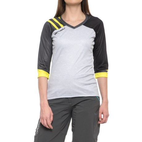 Louis Garneau J-Bar Mountain Bike Jersey - 3/4 Sleeve (For Women) in Heather Gray/Asphalt/Sulphur Spring