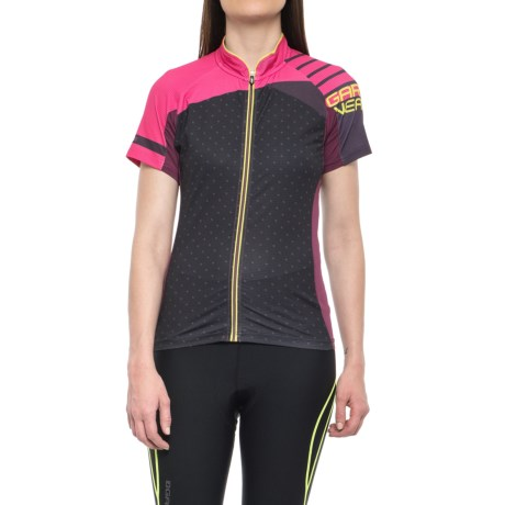 Louis Garneau River Run Cycling Jersey - UPF 40, Short Sleeve (For Women) in Magenta Purple/Pink Glow/Sulphur Spring