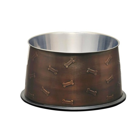 Loving Pets Antique No-Tip Deep Dish Dog Bowl - Stainless Steel in Copper