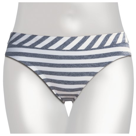 Low-Rise Bikini Bottoms (For Women) in White/Grey Heather Stripe