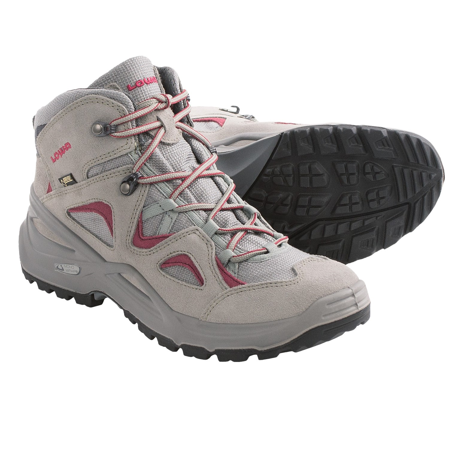 lowa bora tex 174 qc hiking boots waterproof for in grey magenta