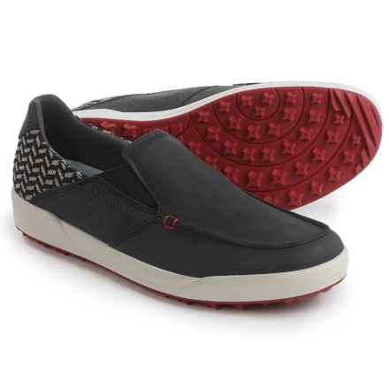 Lowa Cadiz Moc-Toe Shoes - Leather, Slip-Ons (For Men) in Black/Red - Closeouts