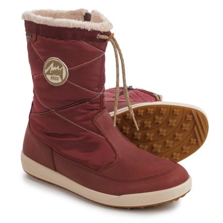Lowa Valloire Gore-Tex® Mid Winter Boots - Waterproof, Insulated (For Women) in Burgandy/Diamonds
