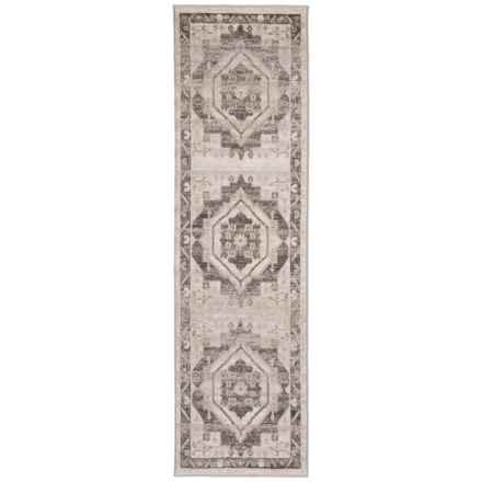 LR Home Contemporary Medallion Floor Runner - 2x7', Stone-Magnet in Stone/Magnet - Closeouts