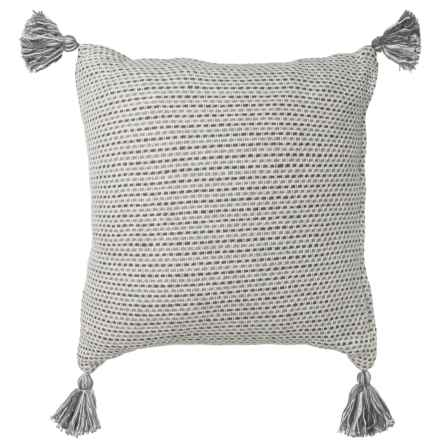 "LR Resources Basket-Weave Tasseled Decor Pillow - 18x18"" in Grey - Closeouts"
