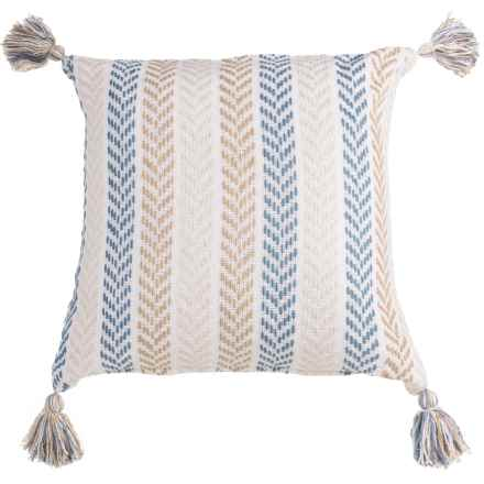 "LR Resources Chevron Striped Tasseled Decor Pillow - 18x18"" in Blue/Brown - Closeouts"