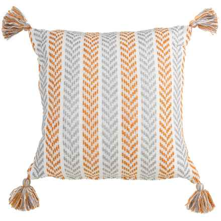 "LR Resources Chevron Striped Tasseled Decor Pillow - 18x18"" in Orange/Grey - Closeouts"