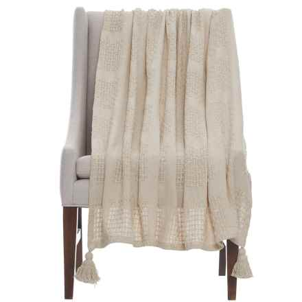 "LR Resources Cotton Throw Blanket - 50x60"" in Beige - Closeouts"